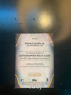 Ronald Acuna Jr. 2021 Topps Diamond Icônes Jeu Automatique Relique D'occasion #d 6/10