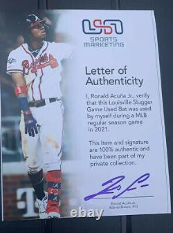 Ronald Acuna Jr. Atlanta Braves Jeu Bat D'occasion 2021 Fête Des Mères Signé Mlb