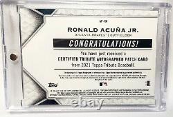 Ronald Acuna Jr. Auto #/50 2021 Hommage 2019 Nlds Jeu 1 Home Run Patch