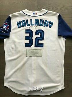 Roy Halladay Jeu Usé Porté Signé Maillot Blue Jays Team Loa 2002