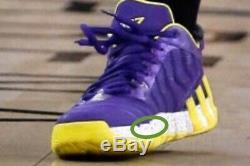 Signé Jeremy Lin Lakers Adidas Jeu D'occasion Worn Chaussures Auto Jsa Sample Photomatch