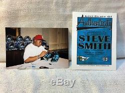 Steve Smith Carolina Panthers Signé Jeu Utilisé Football NFL Reebok Crampons Paire