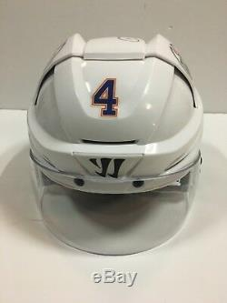 Taylor Hall 15'16 Signé Oilers D'edmonton Jeu Utilisé Worn Casque Bouclier Coa