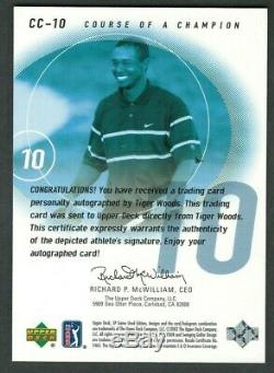 Tiger Woods 2002 Ud Sp Jeu Utilisé Course D'un Champion Trou # 10 Autographié Auto