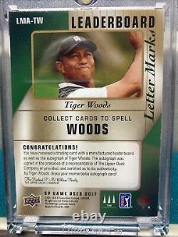 Tiger Woods 2021 Sp Jeu Utilisé Golf Leaderboard Lettre I Marque Auto #d 25/25