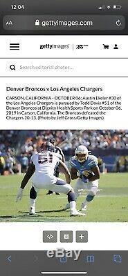 Todd Davis Signé Jeu Utilisé Worn Denver Broncos Jersey