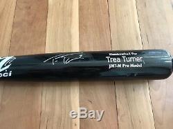 Trea Turner 2017 Nationals Matched Base Bat Bat. Signé Avec Un Grand Usage