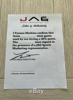 Tyrann Mathieu A Dédicacé Jeu Gants Inscrits Utilisé NFL Kansas City Chiefs Jag