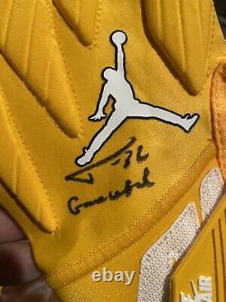 Tyrann Mathieu Chiefs Auto Multi Game Used Issued Jordan Gloves Signed Coa