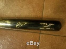Vladimir Guerrero Jr Jeu Autographié Utilisé Bat. Chauve-souris Fissurée Avec Autographe Gravé
