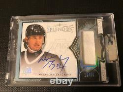 Wayne Gretzky 17-18 Splendeur, Jeu Utilisé Souvenirs Avec Hard Signed Auto 12/36
